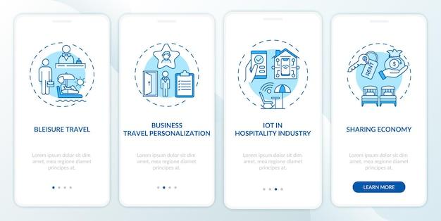 Tendenze dei viaggi di lavoro nella schermata della pagina dell'app mobile con concetti