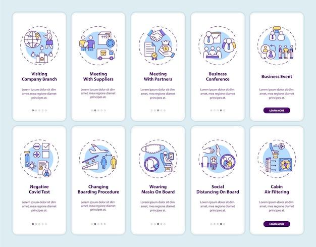 Set di schermate delle pagine delle app mobili per l'onboarding dei viaggi d'affari
