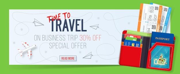 Banner di viaggio d'affari con biglietti e portafoglio.
