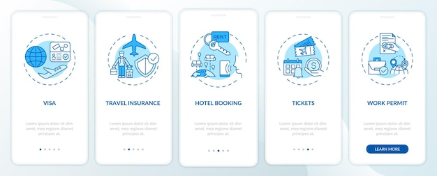 Requisiti per viaggi di lavoro onboarding schermata della pagina dell'app mobile con concetti