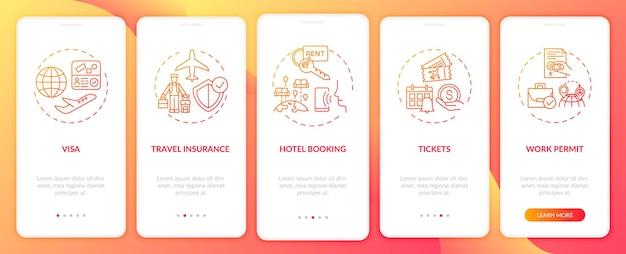 Requisiti di viaggio di lavoro onboarding schermata della pagina dell'app mobile con concetti