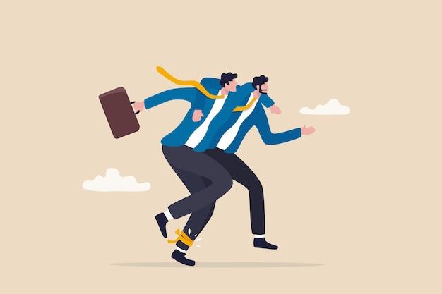 Partnership aziendale di fiducia, amico, lavoro di squadra e unità, tutoraggio e supporto per raggiungere il successo, il concetto di cooperazione e collaborazione, gli uomini d'affari che corrono a tre gambe corrono per vincere la competizione.