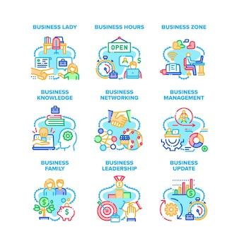 Set di icone di aggiornamento aziendale illustrazioni vettoriali. zona e orari degli affari, famiglia e signora, donna d'affari e leadership, gestione e conoscenza, rete e illustrazioni a colori online