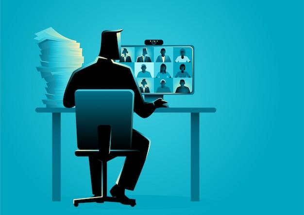 Illustrazione vettoriale di affari di una figura di uomo che ha videoconferenza con un gruppo di persone