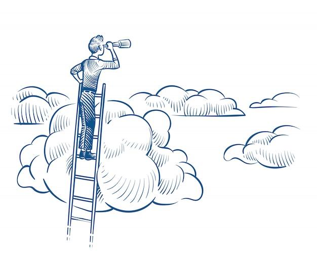 Visione aziendale. uomo d'affari con il telescopio che sta sulla scala fra le nuvole. concetto di vettore di schizzo di successi futuri riusciti