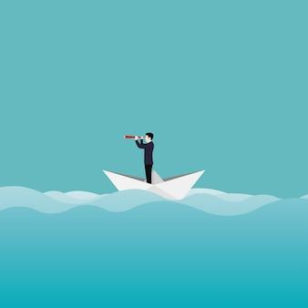 Concetto di visione aziendale. carattere dell'uomo d'affari che naviga su una barchetta di carta con un telescopio attraverso l'oceano. guarda nel futuro e l'obiettivo.