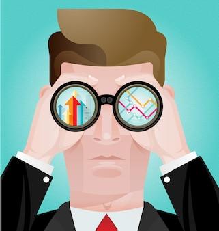 Concetto di visione di affari, uomo d'affari che guarda alla vista con il telescopio. guardando al futuro
