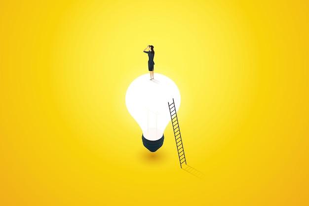 Concetto di visione aziendale che pianifica idee o ispirazione