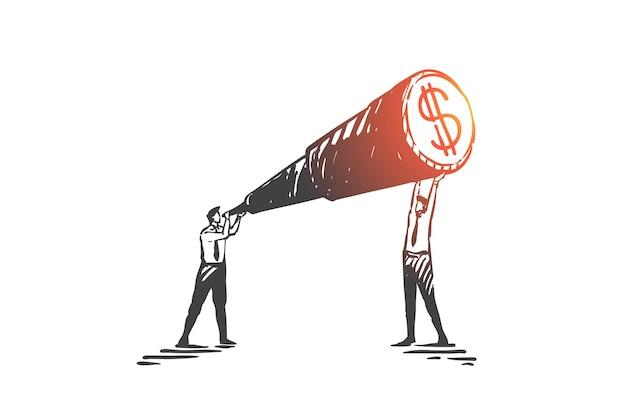Visione aziendale, cooperazione, illustrazione di schizzo del concetto di lavoro di squadra