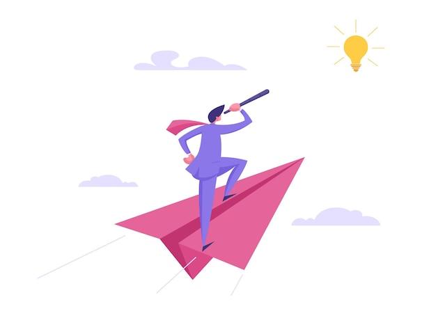 Visione aziendale, illustrazione di concetto di successo di strategia futura