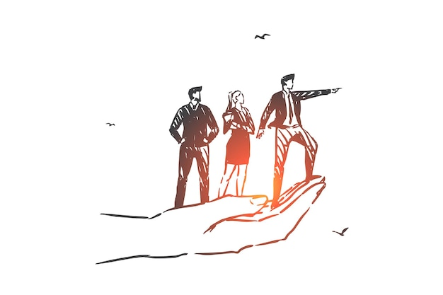 Visione aziendale, lavoro di squadra, illustrazione di schizzo del concetto di leadership
