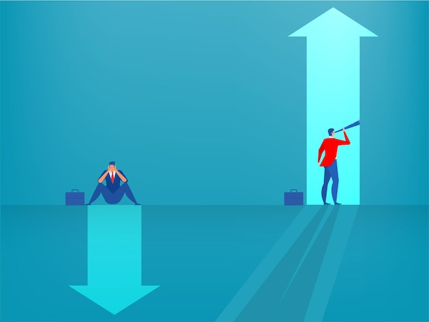 Visione aziendale con la ricerca di opportunità nell'illustrazione di vettore di concetto di mentalità di crescita permanente del cannocchiale