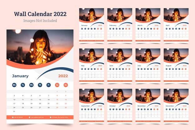 Modello di stampa di design del calendario da parete aziendale 2022 Vettore Premium