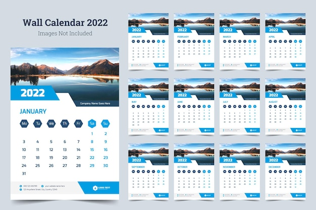 Modello di stampa di design del calendario da parete aziendale 2022