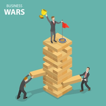 Concetto isometrico piatto di guerra d'affari.