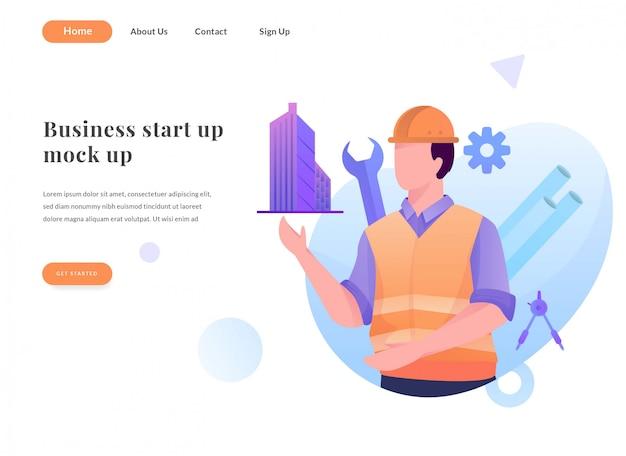 Architetto pagina di destinazione web aziendale Vettore Premium