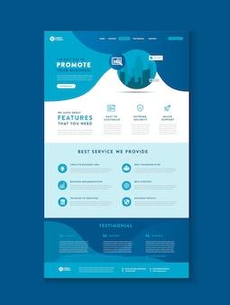 Pagina di destinazione del sito web aziendale o pagina di destinazione dell'app o design dell'interfaccia utente web o modello wireframe web