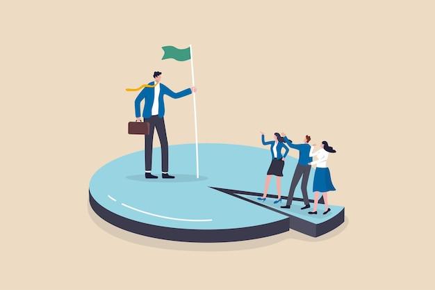 Quota di mercato vincente aziendale, guadagnare un'alta percentuale di vendita del prodotto, l'azienda raggiunge il concetto di crescita dei profitti, l'imprenditore di successo che tiene la bandiera in piedi sul grafico a torta conquista i concorrenti.