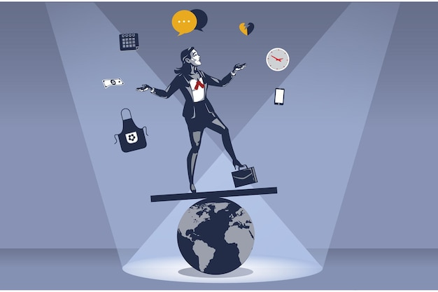 Business woman acrobaticamente si leva in piedi sul globo instabile del mondo