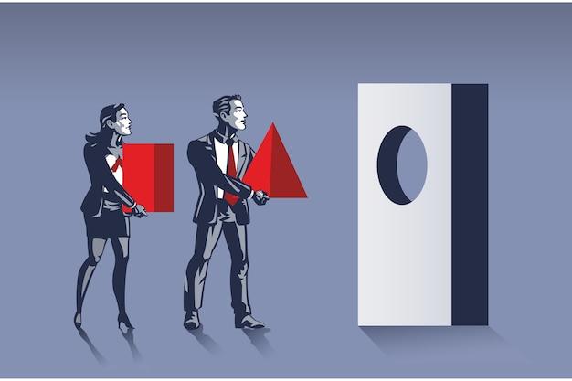 La donna di affari e l'uomo d'affari portano il concetto sbagliato dell'illustrazione di forma