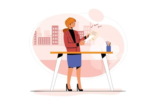 Donna di affari che controlla l'illustrazione della pubblicità