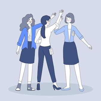 Lavoro di squadra dell'illustrazione della donna di affari