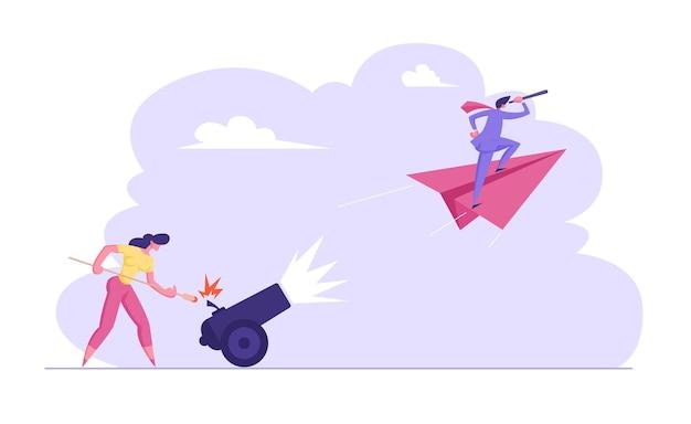 La donna di affari sta accendendo il cannone con l'illustrazione dell'uomo d'affari