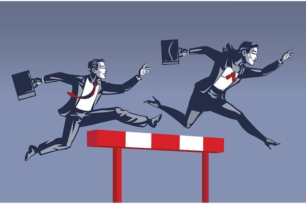 Piombo della donna di affari negli ostacoli che eseguono concorrenza davanti all'illustrazione concettuale dell'uomo d'affari colletto blu