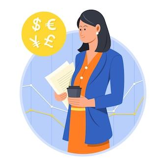 Donna d'affari guarda le valute estere