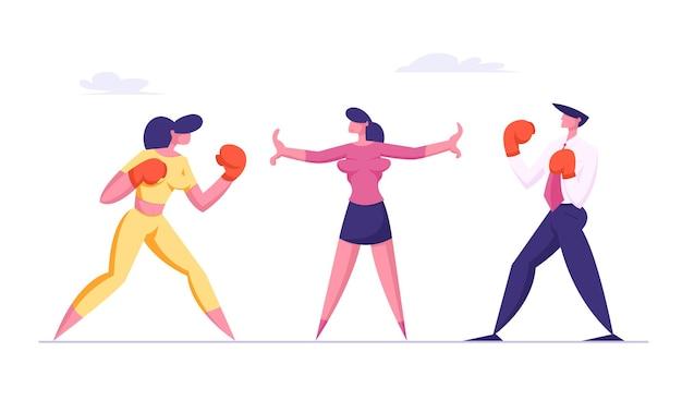 Uomo e donna d'affari in guantoni da boxe si preparano a combattere in attesa che l'arbitro dia inizio