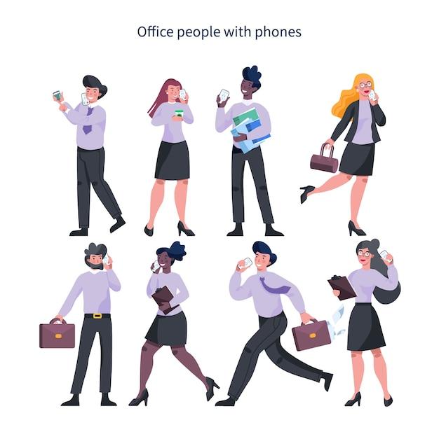 Donna e uomo d'affari con il telefono cellulare. raccolta di femmina e maschio in tuta personaggio tenendo lo smartphone.