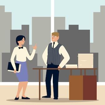 Donna e uomo d'affari con documenti impilati sulla scrivania nell'illustrazione dell'ufficio