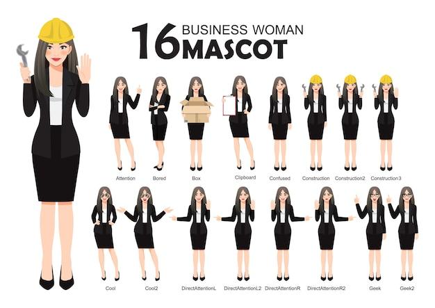 La mascotte della donna di affari in vestito nero, stile del personaggio dei cartoni animati pone l'illustrazione stabilita Vettore Premium