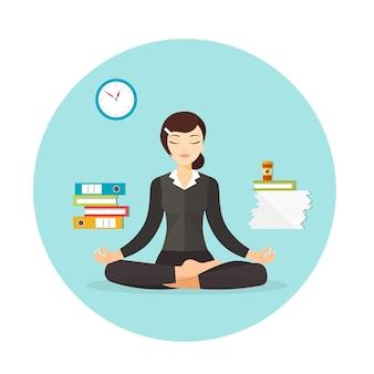 Donna d'affari che medita donna in posa yoga posizione del loto illustrazione piatta vettoriale