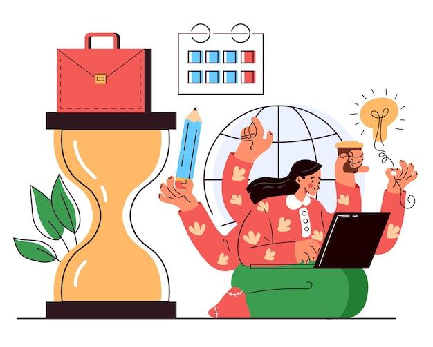 Carattere dell'impiegato dell'ufficio della donna di affari che ha molte mani e che lavora concetto di gestione del tempo multitasking illustrazione grafica del fumetto piatto vettoriale