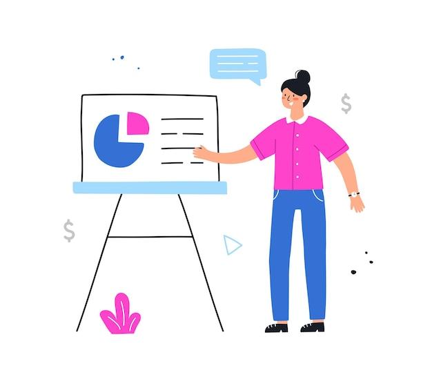Punto della donna di affari al bordo dello schermo di presentazione. presentazione del business plan sul seminario. illustrazione disegnata a mano di vettore in stile piano.