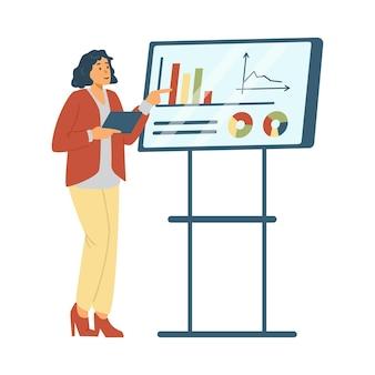 Donna d'affari che presenta la sua idea sulla lavagna in un'illustrazione vettoriale piatta