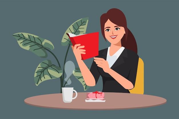Donna di affari che legge un libro nella caffetteria e prendere il cibo.