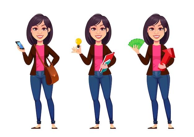 Donna d'affari, set di tre pose. bella imprenditrice