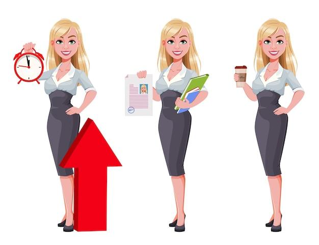 Donna d'affari, set di tre pose