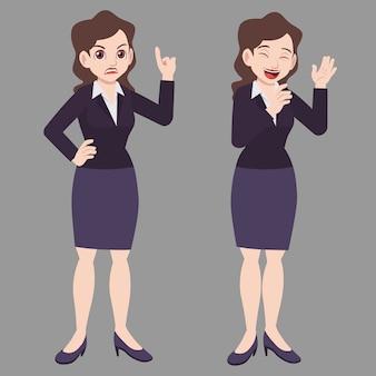 Business donna in piedi pose in giacca e cravatta con espressione di umore differenza