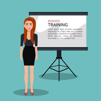 Progettazione dell'icona isolata processo di addestramento della donna di affari, grafico dell'illustrazione di vettore