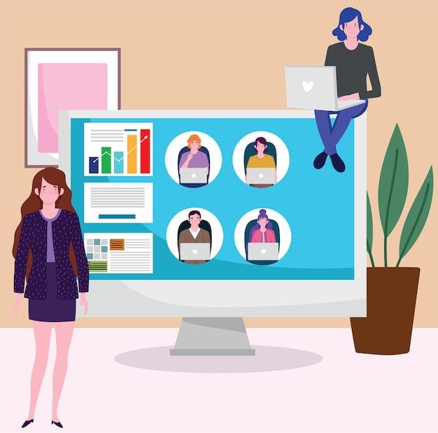 Riunione videochiamata donna d'affari in ufficio utilizzando il computer, illustrazione di persone che lavorano