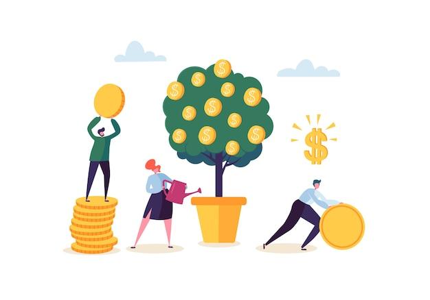 Donna di affari che innaffia una pianta dei soldi. personaggi che raccolgono monete d'oro dall'albero dei soldi. pofit finanziario, investimenti, attività bancarie, concetto di reddito.