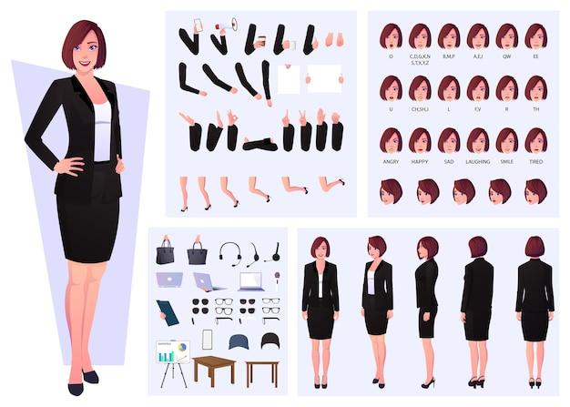 Donna d'affari che indossa un costume da costruttore di personaggi con sincronizzazione labiale, emozioni e gesti delle mani design
