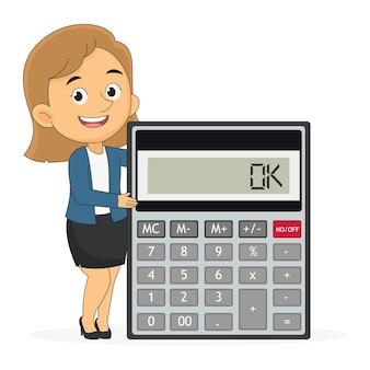 Donna d'affari con calcolatrice. finanze