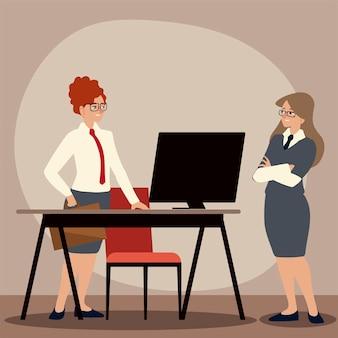 Donna di affari con l'illustrazione dell'ufficio di lavoro del computer e della scrivania della cartella