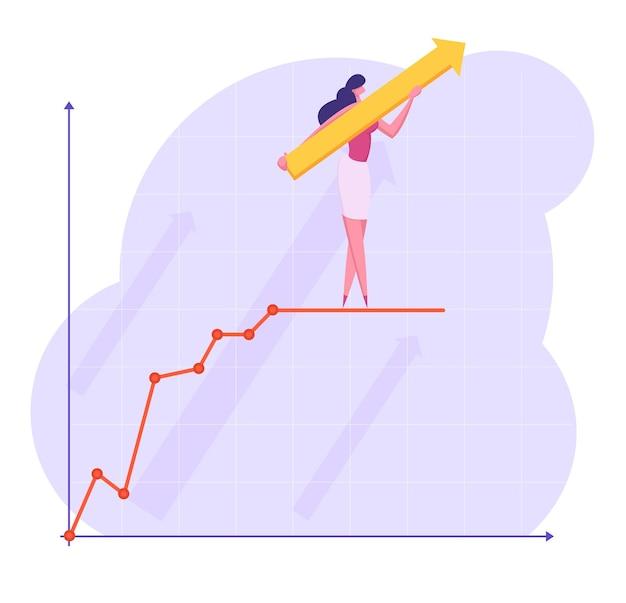 La donna di affari con la freccia enorme nelle mani sta in cima al grafico di affari in crescita