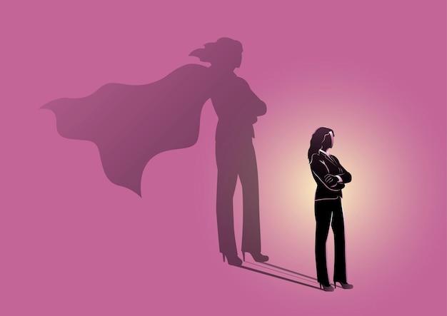 Business woman con un concetto di motivazione di super hero shadow leadership vector illustration