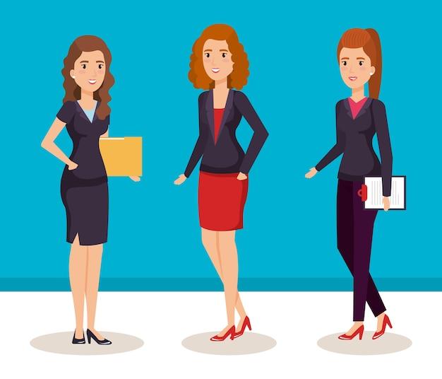 Progettazione isometrica dell'illustrazione di vettore degli avatar delle donne di affari
